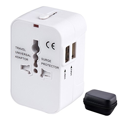 Adaptador Enchufe de Viaje Universal Enchufe Adaptador Internacional con Dos Puertos USB para US EU UK AU Acerca de 150 Países y Seguridad de Fusibles para Tableta PC, Smartphones, Cámaras Digitales