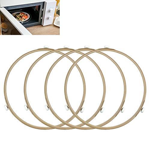 KLYNGTSK 4 Stück Mikrowelle Drehring Universal Mikrowelle Kreis Drehtellerring 22cm Mikrowellen Rollenring Stützring Mikrowellen Antriebsring Plattenspieler Ring für Glasplattenschale Unterstützung