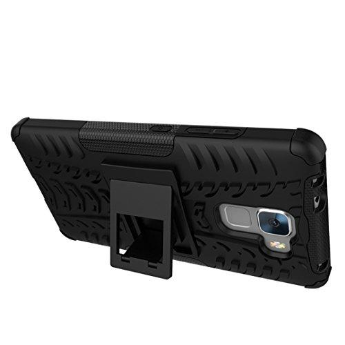 FoneExpert® Huawei Honor 7 Handy Tasche, Hülle Abdeckung Cover schutzhülle Tough Strong Rugged Shock Proof Heavy Duty Case für Huawei Honor 7 (Schwarz) - 4