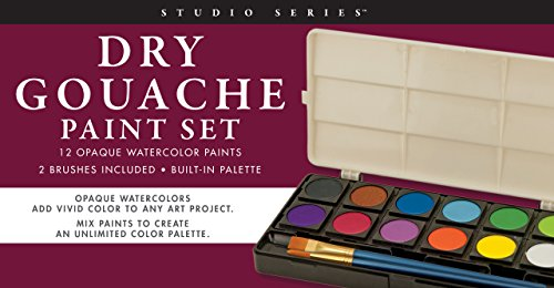 Studio Series Dry Gouache Paint Set (12 opaque watercolor paints)