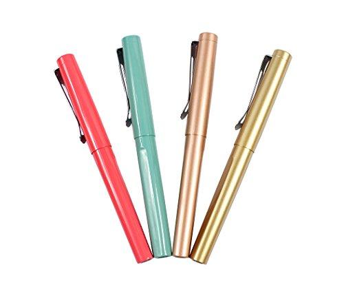 Ranvi JinHao 5099 pluma estilográfica, plumín de metal medio con convertidor de tinta, 4 piezas, 4 colores (azul, oro, oro rosa, rosa fluorescente)