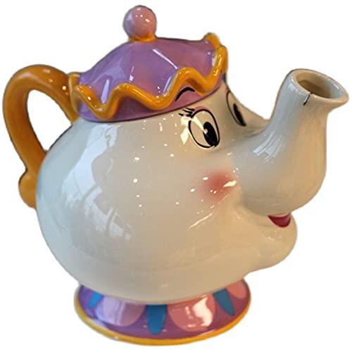 DZHTWSRYGR Tetera La Bella y La Bestia Tetera Sra. Tao Juego de té de cerámica Tetera Decoración