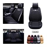 OASIS AUTO Leather&Fabric Car Seat Covers, Faux Leatherette Automotive Vehicle Cushion Cover for Cars SUV Pick-up Truck Universal Fit Set Auto Interior Accessories (OS-008 Full Set, Black)