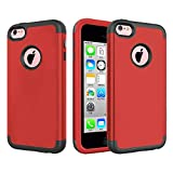 J.west iPhone 5C Case,Hybrid Heavy Duty Shockproof Full-Body Protective Case with Dual Layer [Hard PC+ Soft Silicone] Impact Protection for Apple iPhone 5C - Red/Grey