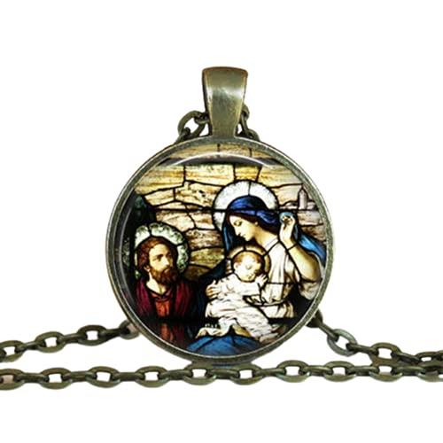 Collar de bronce de la Virgen María y el Bebé Jesús Catolicismo Cristiano Joyería Collar de la Santísima Madre Arte Religioso Colgante de Cristal de la Cúpula