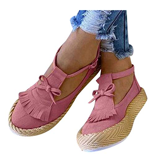 Buy kaifongfu Flat Sandals Womens Bowknot Round Toe Shoes with Tassel Flat Thick Bottom Dress Sandal...