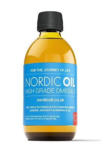 Nordic Oil High Strength 250ml Omega 3 Fish Oil. Taste Award Winning Lemon Flavoured and Tested