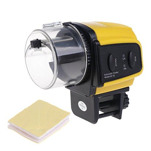 Huiouer - Mangiatoia automatica per acquario, con timer digitale 12 ore e 24 ore