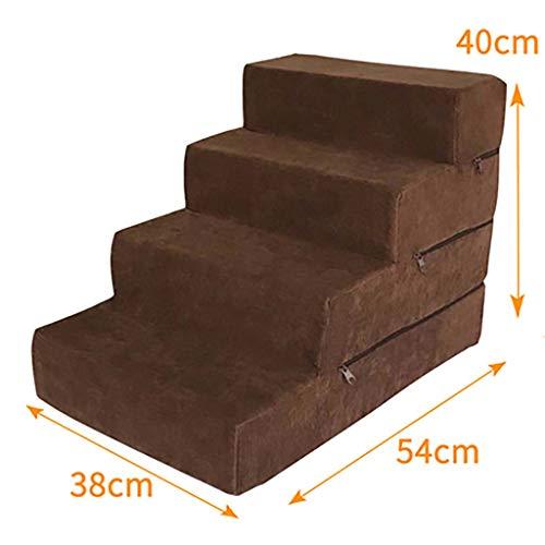 Escaleras Del Animal Doméstico,esponja Escaleras De Mascotas Con Cremallera Cubierta Desmontable Ligero Escalera De Cama Para Mascotas Lavable Sofá Cama Escalera-a 38x54x40cm(15x21x16inch)