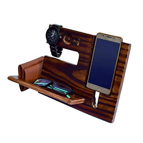 WILLART Wood Phone Docking Station, Ash Desk Organizer, Tablet Holder, Key Hooks, Coin, Wallet, Watch Stand, Handmade Men Graduation Gift, Husband Anniversary with Pine Wood Antique Finish