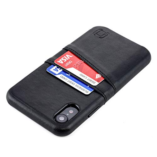 Dockem iPhone XR Wallet Case: Built-in Metal Plate for Magnetic Mounting & 2 Credit Card Holders (6.1 Exec M2, Synthetic Leather, Black)