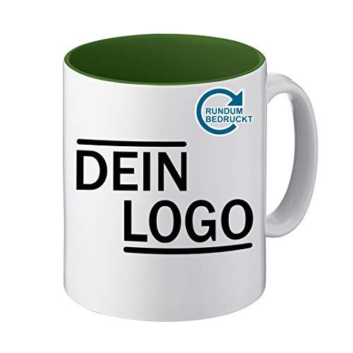 Foto Premio Werbetasse mit Logo | Kaffeetassen mit Logo Bedrucken, Tasse mit Logo in Kleiner Auflage günstig bestellen, Spülmaschinen- und Mikrowellenfest, 300ml Füllmenge (Dunkelgrün, Panorama)