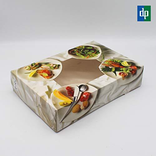 BAMI EINWEGARTIKEL 10 Stück Cateringbox Catering Tray Transportbox Karton mit Sichtfenster für Fingerfood, Vorspeisen, Fisch, Fleisch usw. - 46x31x8cm