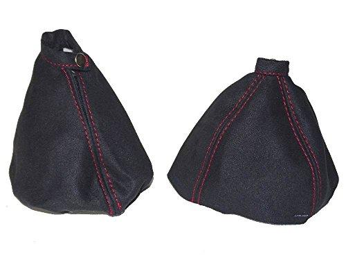Für Alfa Romeo 1592005–2011Gear & Handbremsmanschette schwarz Wildleder rot Naht