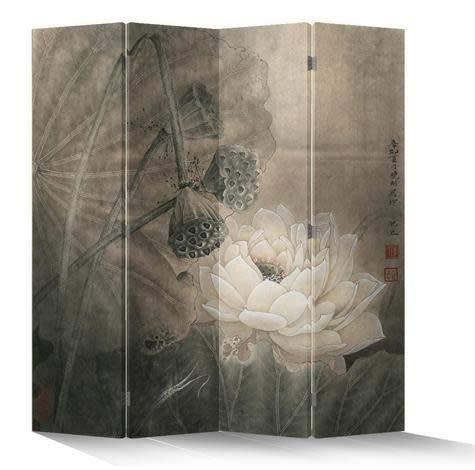 Fine Asianliving Paravent Raumteiler Trennwand Spanische Wand Raumtrenner Sichtschutz Japanisch Orientalisch Chinesisch L160xH180cm Bedruckte Canvas Leinwand Doppelseitig Asiatisch -203-155