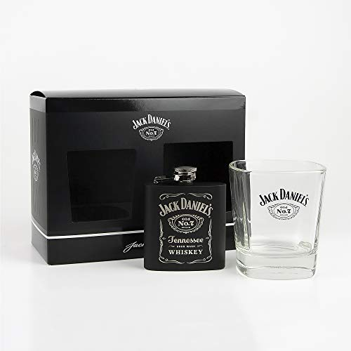JACK DANIELS Flachmann No. 7, Glas, Trinkbecher & Hipflask, Tumbler & Hip Flask
