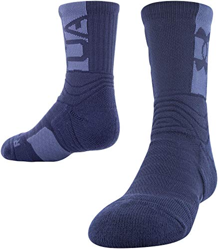 Under Armour Youth Playmaker Mid-Crew Socks, 1-Pair , Midnight Navy/Blue Ink , Small
