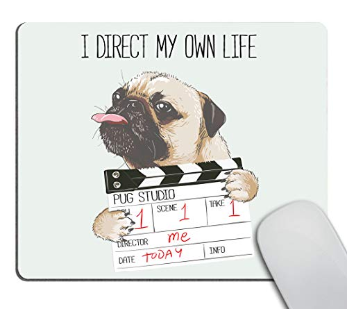 Smooffly Mousepads Cute Pug Design Mousepad Non-Slip Rubber Gaming Mouse Pad Rectangle Mouse Pads Pug Dog with Director Slate - I Direct My Own Life
