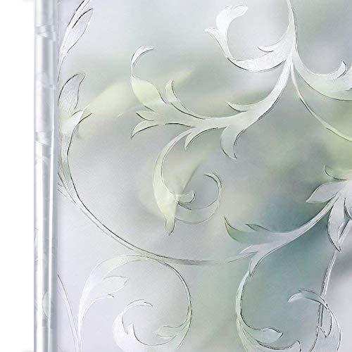 Homein Fensterfolie Sichtschutzfolie Milchglasfolie Selbstklebend Sichtschutz Folie Fenster Blickdicht Dekorfolie für Bad Deko Duschkabine Badfenster Duschwand UV Schutz 3D Blumen Ranke 90 x 200 cm