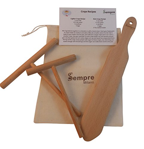 "The ORIGINAL Crepe Spreader and Spatula Set, Natural Beechwood 3 Piece Kit (5"" and 7"" Spreaders and 13"" Spatula) with Handy Storage Bag and Bonus Recipe Card by Sempre Milano"