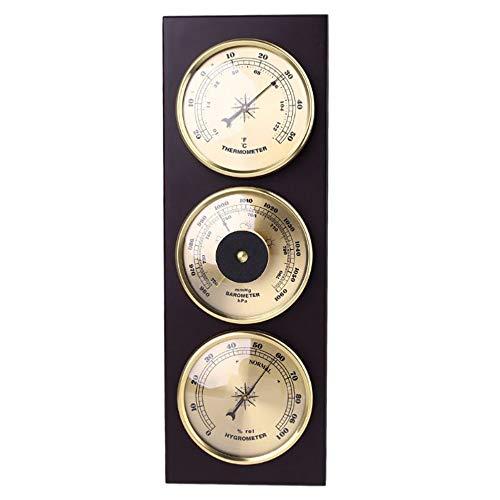 KLSAMNM 3 unids/set barómetro termómetro higrómetro con marco de madera base estación meteorológica