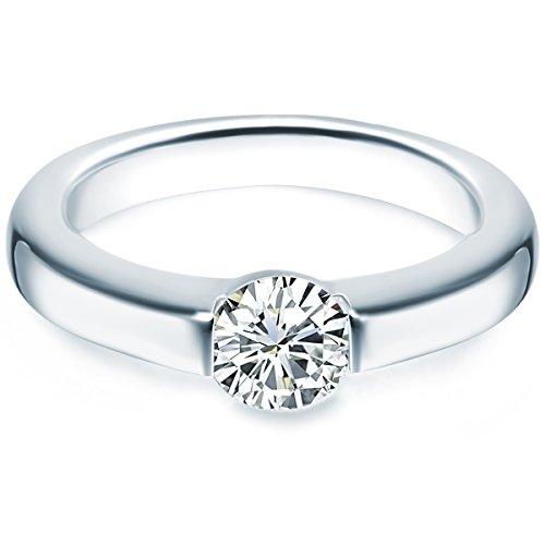 Tresor 1934 Damen-Ring/Verlobungsring/Spannring Sterling Silber rhodiniert Zirkonia weiß 60451024