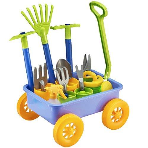 deAO Carriola e Attrezzi da Giardino per Bambini Gioco di Botanica e Giardinaggio Infantile Set Include 10 Accessori e 4 Vasi da Fiori
