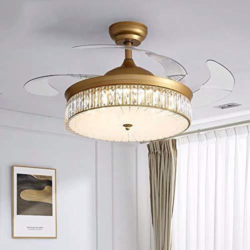 Luce Plafoniera Luz de ventilador de techo de cristal Luz de ventilador invisible de lujo Restaurante Luz de ventilador eléctrico Lámpara de ventilador de dormitorio