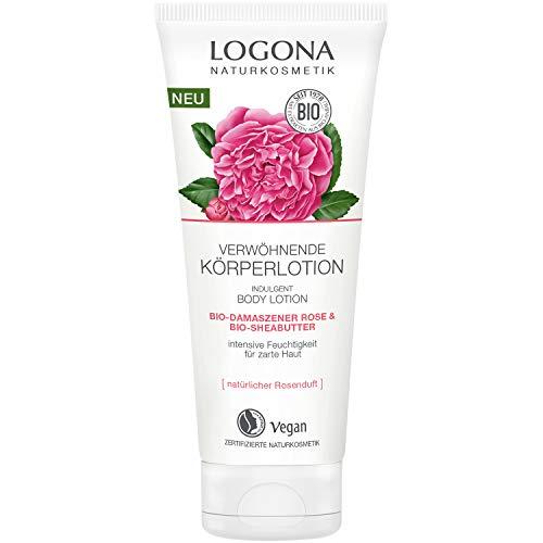 LOGONA Naturkosmetik Verwöhnende Körperlotion Bio-Damaszner Rose & Bio-Sheabutter, Feuchtigkeitsspenende Creme für weiche Haut, Schützt vor dem Austrocknen, Vegan, 200ml