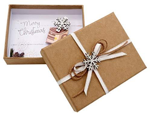 ZauberDeko Geldgeschenk Verpackung Weihnachten Schneeflocke Weiß Natur Geschenk Gutschein