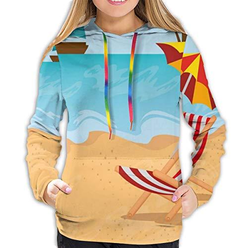 Women's Hoodies Tops,Summer Leisure Scene at Coast Ocean Sailboat Parasol and Chair Cartoon Style,Lady Fashion Casual Sweatshirt,M