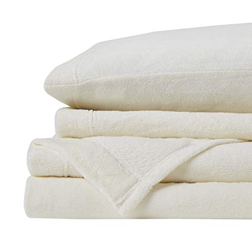 True North by Sleep Philosophy Soloft Plush, Wrinkle Resistant, Warm, Soft Fleece Sheets with 14' Deep Pocket Cold Season Cozy Bedding-Set, Matching Pillow Case, Twin, Ivory