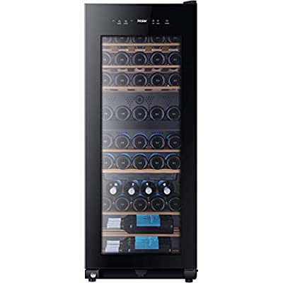Haier WS53GDA Freestanding Wine Cooler, Dual Zone Temperature, 53 Bottle Storage, 50cm wide, Black by Haier