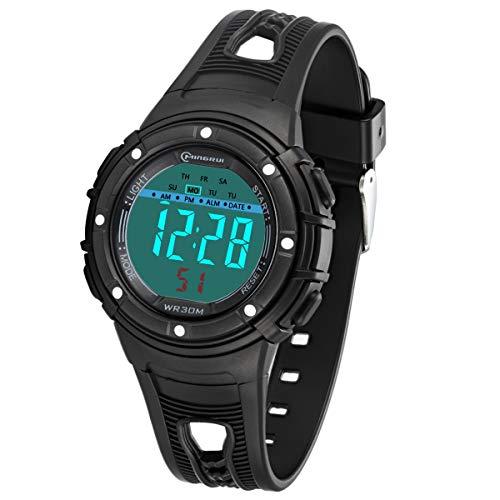 Kinderuhren für Jungen Mädchen, Wasserdicht Outdoor Sports Digitaluhren Analog Armbanduhr mit Wecker/Timer/LED-Licht, Elektronische Stoßfest Handgelenk Uhr für Jugendliche Kinderuhren (Schwarz-1)