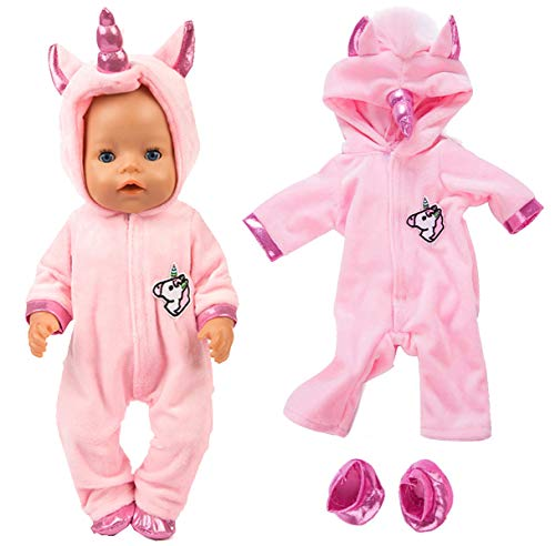 2pc/Set Unicorn Costume Jumpsuit Doll Clothes with Shoes for 43 cm New Born Baby Dolls/ 15 inch Dolls, Pink