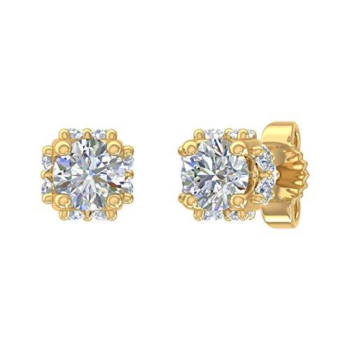 Royal 1/2 Carat Diamond Stud Earrings in 14K Yellow Gold