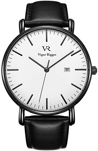 Vigor Rigger Men s Watch Simple Thin Quartz Leather Strap Classic Watches White Leather product image