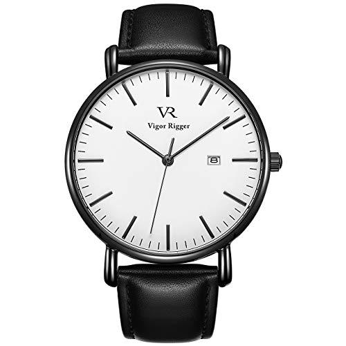 Vigor Rigger Herren Quarzuhr Ultradünne Schwarz Armbanduhr für Herren Classic Minimalistisches Design mit Datum Kalender und Weiches Lederband