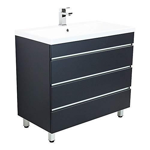 Lomadox Badezimmer Standwaschtisch mit Unterschrank in Seidenglanz anthrazit 91cm Waschbecken