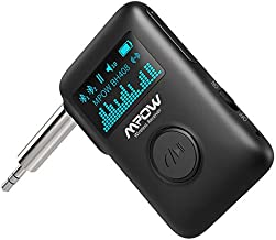 Mpow Bluetooth Music Receiver, Bluetooth 5.0 Receiver with Display Screen, Bluetooth Aux Adapter with DSP Noise Cancellation, 3D Surround Sound for Car Home Stereo, Slide Switch/Voice Assistant