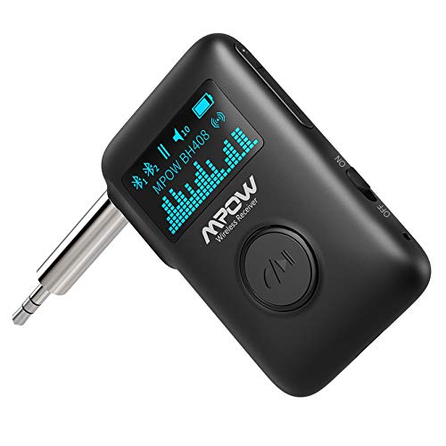 Mpow Bluetooth Receiver, Bluetooth 5.0 Receiver with Display Screen, Bluetooth Aux Adapter with Noise Cancellation, 3D Surround Sound for Car Stereo