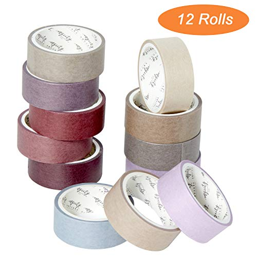 12 Rolls Colored Masking Tape, Rainbow Colors Painters Tape for Colorful Craft Art Paper Tape - Kids Labeling Arts Crafts DIY Decorative Coding Decoration Pack of 12, 0.59 Inch Wide x 3M Long (Red)
