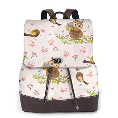 Women's Casual Leather Backpack Durable School Backpack, Cute Owl Printed Bookbag Fashion Travel Shoulder Bag