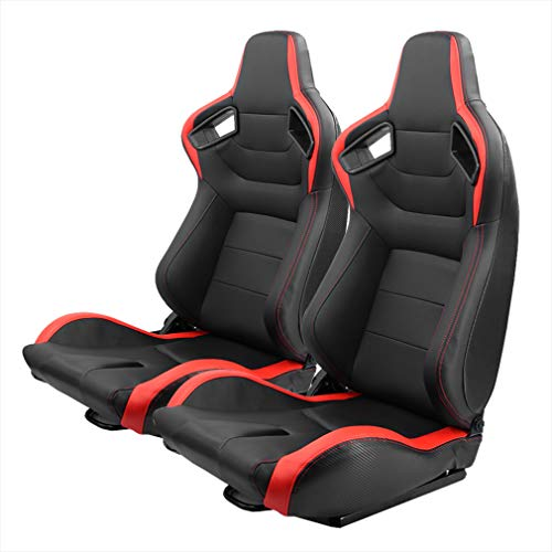 OKLEAD Racing Seats PVC Leather Sports Style Reclinable Bucket Seat with Slider, Universal 2 Pack
