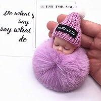 ファッションカラフルな睡眠ベビードール吊りピース毛玉のペンダントかわいいふわふわポンポンチェーン綿ウールホルダーバッグボールおもちゃ (Red)