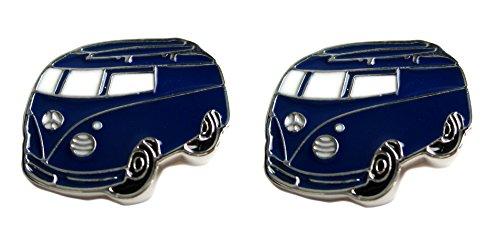 Unbekannt Manschettenknöpfe Bus blau Weiss silbern + Silberbox