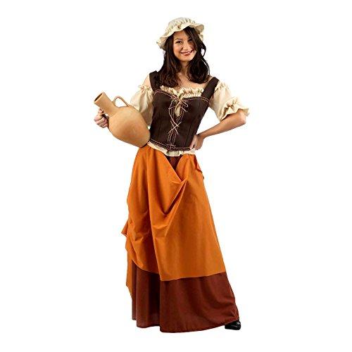 Mittelalter Wirtin Schankmaid Kostüm Damen 4tlg. Bluse, Rock, Hut, Mieder zum Karneval braun - S