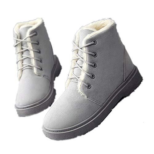 Alebaba - Botas de invierno para mujer, botas de nieve grandes, de felpa, impermeables, botas australianas femeninas, color Gris, talla 38 EU