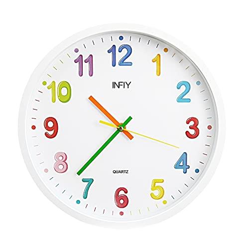 Reloj de Pared Silencioso 30 CM Sin Tictac Ruido Cuarzo Silencio Pared Reloj por Sala Estar Cuarto Oficina Decorativo Vistoso...