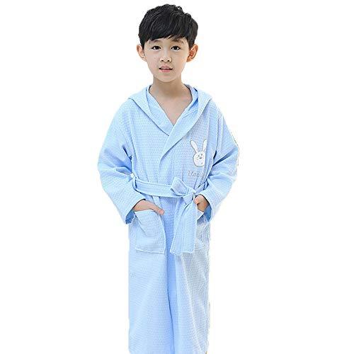 Kinderen Badjas, puur katoen Waffle Cartoon Hooded badjas dunne gedeelte absorberen Water Zwemmen Yukata voor Babys Dames Boys,Blue,4A
